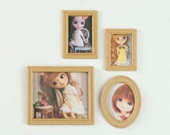 Photo frames set miniature 1:6 for home doll pullip, blythe, lati, dal pukifee
