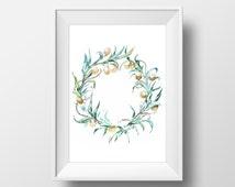 Watercolor Olive Wreath Wall Art Print,Printable Art,Kitchen Art Print,Kitchen Decorations,Provence Art,Watercolor Digital Print