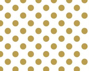Riley Blake_Sparkle Gold Medium Dot_Fabric _ 1 YARD