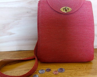 1940s 1950s Red Raffia Purse Bag with Long Strap