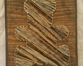 FREE SHIPPING Teddy Bear Thread Nail Wall Art Nursery Baby Shower Animal Boho Love Shabby Chic Vintage Rustic Family Wood Sign Decor Child