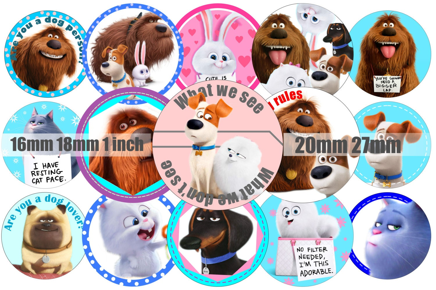 The Secret Life Of Pets Inspired Bottle Cap Image 1 Inch Round