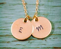 SALE - Gold Hand Stamped Initial Necklace - Gold Initial Charms - Dainty Gold Charm Necklace - 14K 14 Karat - Kids Initials - Mommy Jewelry