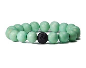 Wood Bracelet: Seafoam Green