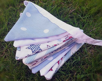 Blue and White pattern Bunting