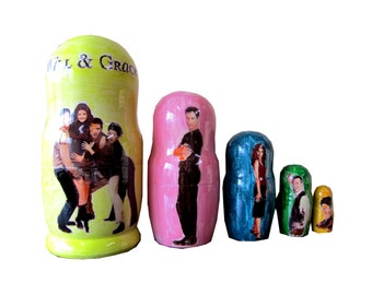 Matryoshka Will & Grace. 5 Piece Nesting Doll