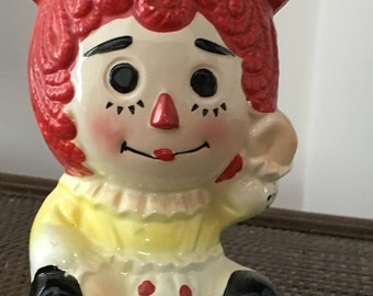Vintage Ceramic Raggedy Ann Planter /  Vase / Head Vase / Mothers Day Gift / Raggedy Ann Collector Gift