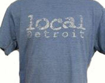 The Unisex Local Detroit Lt Blue T-shirt Made in USA / 10% proceeds go to Amer Cancer Society Fund