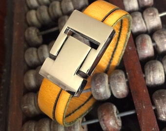 Leather strap yellow and loving hook clasp