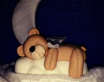 Sleepy Bear Moon Baby Shower Cake Topper