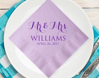 100 pcs Mr. and Mrs. Peronalized Napkins - Wwedding Napkins