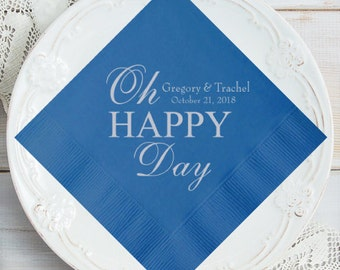 100 pcs Oh Happy Day Personalized Napkins