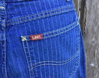 """Lee railroad stripe pants, size 27"""" waist lee jeans, denim pants, vintage lee jeans, high waisted Lee jeans, 80s lee jeans, pinstripe pants"""