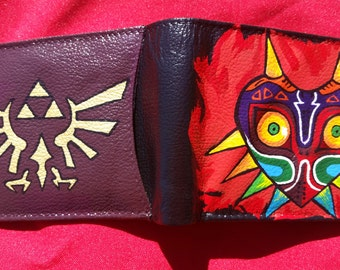 Hand Painted Majora's Mask Leather Wallet, Legend Of Zelda Wallet, Link, Zelda, Majora's Mask Wallet
