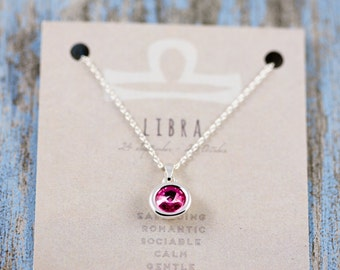 Libra Necklace | Zodiac Charm Necklace | Star sign Gift | Horoscope Necklace | Birthstone Necklace | Birthstone Charm | Silver Charm