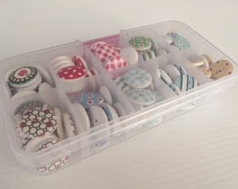 Set of 100  Buttons - 10 Different Styles, Complete With Box
