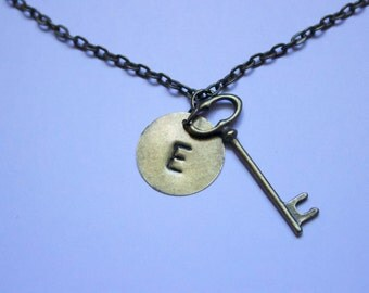 """Letter """"E"""" Antique Bronze Skeleton Key Necklace With Initial """"E"""", Hand Stamped, Metal"""