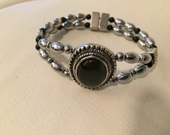 Silver plated double magnetic hematite bracelet