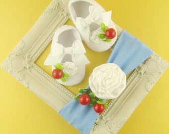 White shoes baby Headbands little girl Shoes toddler first steps Cherries headband baby Cherries baby Summer set baby Turbans Baby Hair bows