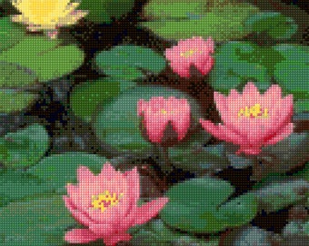 Lotus Flowers Cross Stitch pattern PDF - Instant Download!