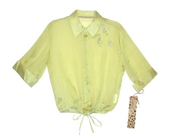 Ungaro Fever Clear Lime Button Women's Shirt, 48 size