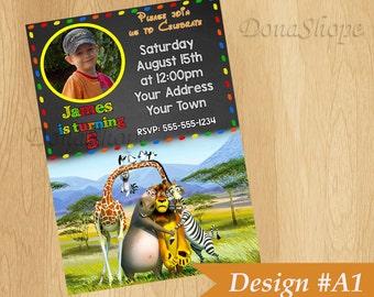 Madagascar  invitation, Madagascar Birthday Invite, PERSONALIZED, Digital File