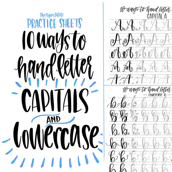Bundle save hand lettering practice sheets ways