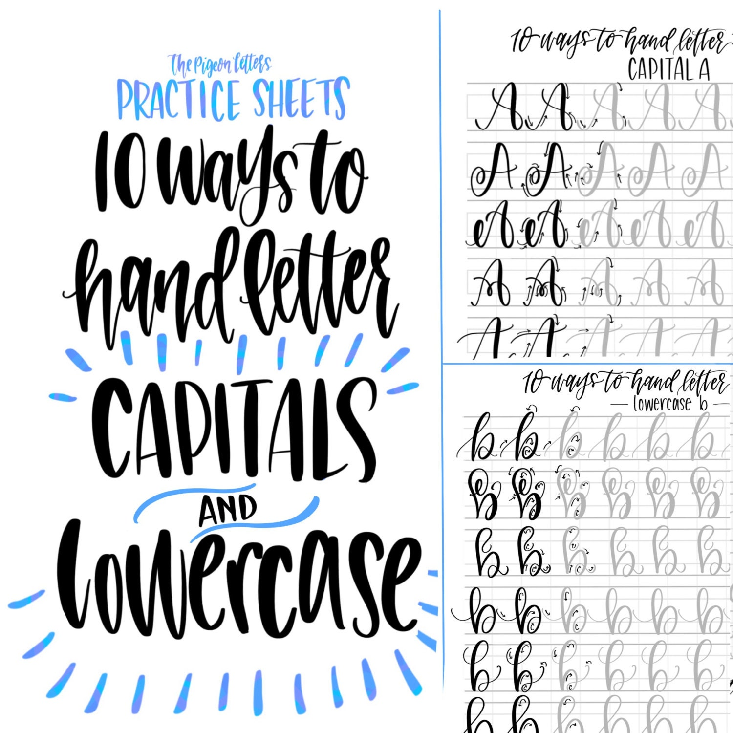 Bundle save hand lettering practice sheets ways to