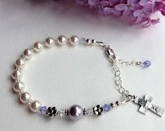 First Communion Rosary Bracelet, Darling Lavender-Periwinkle Flower Bracelet, Swarovski and Pearl, First Communion Gift for Girl