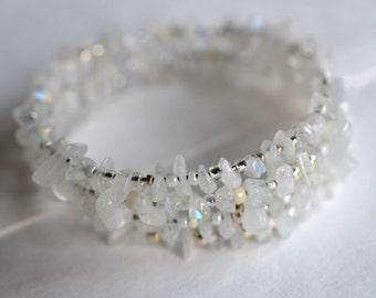 Rainbow moonstone bracelet, memory wire bracelet