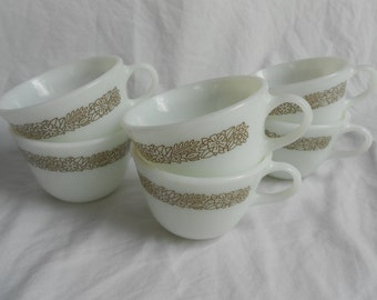 Woodland Brown Pyrex cups (set of 6)