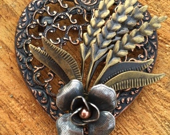 Vintage Bronze and Brass Heart Shaped Brooch with a Rose, Vintage Mixed Metal  Brooch
