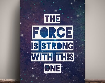 Sci-Fi Galaxy Digital Print - The Force is Strong With This One - Purple - Instant Download Printable. 8x10inch