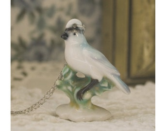 Chinny Chin Chin White Porcelain Bird on a Sterling Silver Chain