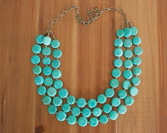 Multi Strand Turquoise Necklace, Turquoise Statement Necklace, Stone Statement Necklace, Turquoise Bib Necklace, Boho Statement Necklace