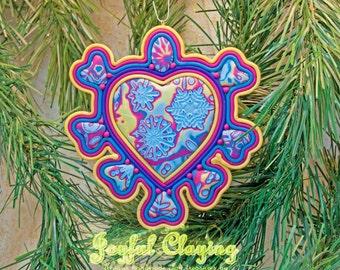 Mixed media blue/fuschia/gold Clay Ornament