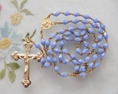 Bicone French Blue Art Glass Beads Rosary Two Tone Ornate Metal Crucifix - Vintage Catholic Devotional - Free Shipping