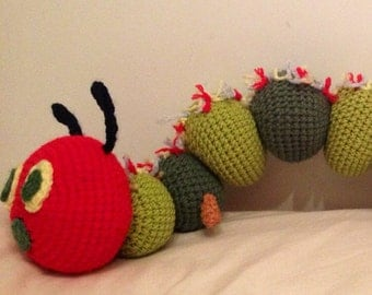 Knitting Pattern For Very Hungry Caterpillar Toy : Items similar to Caterpillar with an apple rattle toys, colorful rainbow hand...