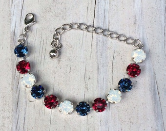 Patriotic bracelet - Swarovski Crystal Bracelet Red, white and blue - 4th of July jewelry - Independence Day - crystal tennis - military