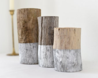 Set of 3 Silver Dipped Driftwood Candle Holders | Rustic Wedding Decor | Tea Light | Handcrafted | Reclaimed Wood | Home and Living |