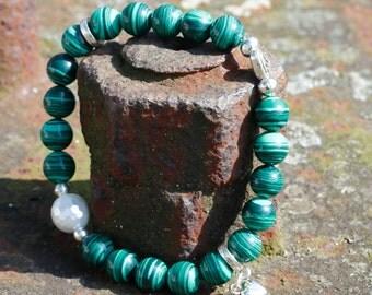 Pearl bracelet, stretch, malachite, green, silver