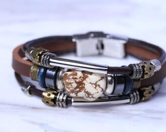 Leather And Howlite Pebble Bracelet, Brown Leather Unisex Cuff, Genuine Leather Wrap, Beaded Bracelet, Gift Bracelet, Boho Jewelry, LO59