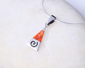 Silver And Red Marble Stone Pendant, Sterling Silver Jewelry ,Stone Charm, Dainty Charm, Minimalist Jewelry, Silver (P33/1)
