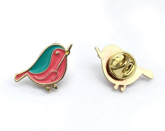 Enamel Pin Embroiderer Bird.  Silvia Peligro Embroidery Club Badge