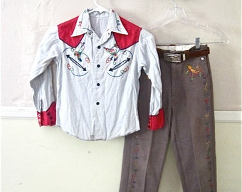 Amazing 1950's cowboy outfit complete with leather Hopalong Cassidy Belt aprox size 7