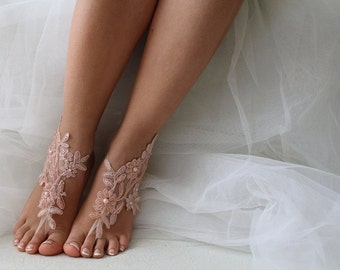 Beaded pink lace wedding sandals, free shipping!barefoot sandals,lace shoes,bridal sandals, wedding sandals,