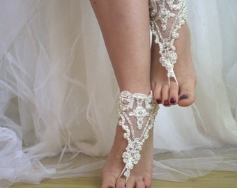 wedding shoes,summer shos,beach shoes,barefoot sandals,bridal accessories,Beaded ivory lace wedding sandals, free shipping!