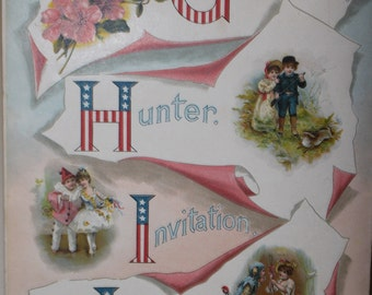 Rare Vintage  Nursery Alphabet Book Page Illustration - Fourth of July - Americana - Old Book Page - 1800s - 1920s - Red White and Blue