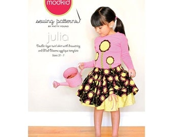 ModKid Pattern - Julia - Paper Sewing Pattern for Girl's Layered Skirt