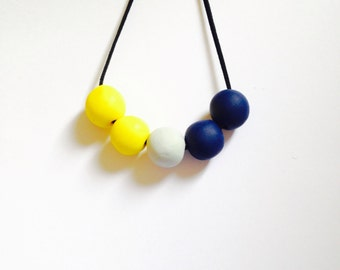 Polymer Clay yellow , grey and blue beaded necklace